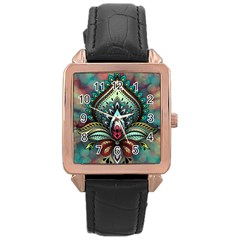 Decoration Pattern Ornate Art Rose Gold Leather Watch  by Nexatart