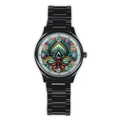 Decoration Pattern Ornate Art Stainless Steel Round Watch by Nexatart