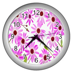 Pink Purple Daisies Design Flowers Wall Clocks (silver)  by Nexatart