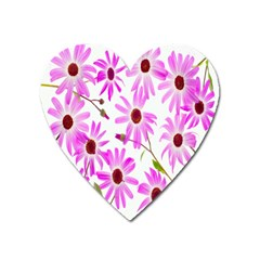 Pink Purple Daisies Design Flowers Heart Magnet by Nexatart