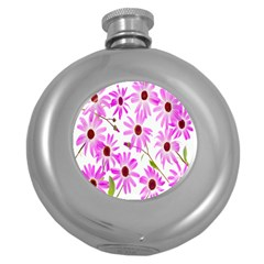 Pink Purple Daisies Design Flowers Round Hip Flask (5 Oz)
