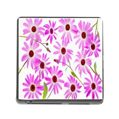 Pink Purple Daisies Design Flowers Memory Card Reader (square)