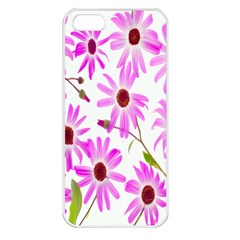 Pink Purple Daisies Design Flowers Apple Iphone 5 Seamless Case (white) by Nexatart