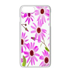 Pink Purple Daisies Design Flowers Apple Iphone 8 Plus Seamless Case (white)