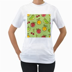 Seamless Pattern Healthy Fruit Women s T-shirt (white) (two Sided) by Nexatart