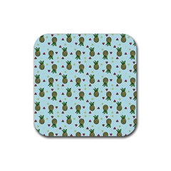 Pineapple Watermelon Fruit Lime Rubber Coaster (square)