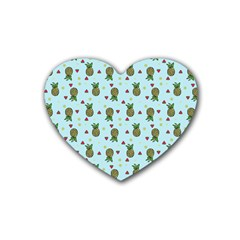 Pineapple Watermelon Fruit Lime Heart Coaster (4 Pack)  by Nexatart