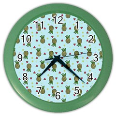 Pineapple Watermelon Fruit Lime Color Wall Clocks