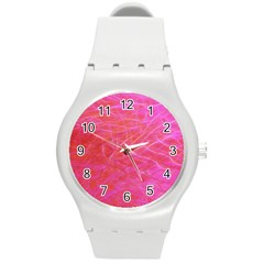 Pink Background Abstract Texture Round Plastic Sport Watch (m) by Nexatart