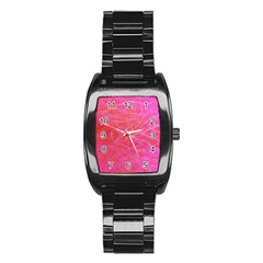 Pink Background Abstract Texture Stainless Steel Barrel Watch by Nexatart