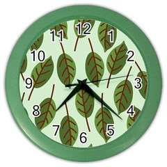 Design Pattern Background Green Color Wall Clocks by Nexatart