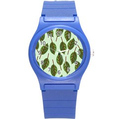 Design Pattern Background Green Round Plastic Sport Watch (s) by Nexatart
