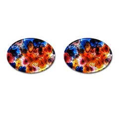 Ornament Color Vivid Pattern Art Cufflinks (oval) by Nexatart