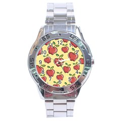 Seamless Pattern Healthy Fruit Stainless Steel Analogue Watch