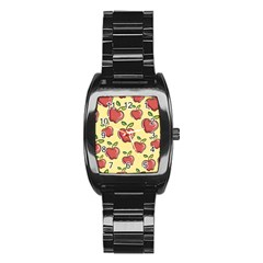 Seamless Pattern Healthy Fruit Stainless Steel Barrel Watch by Nexatart