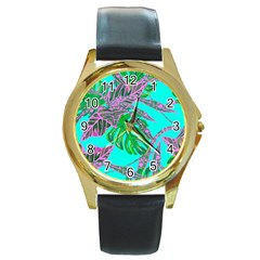 Painting Oil Leaves Nature Reason Round Gold Metal Watch by Nexatart