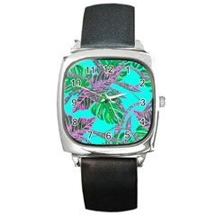 Painting Oil Leaves Nature Reason Square Metal Watch by Nexatart
