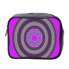 Round Pattern Ethnic Design Mini Toiletries Bag 2 Side