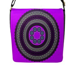 Round Pattern Ethnic Design Flap Messenger Bag (l)
