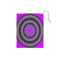 Round Pattern Ethnic Design Drawstring Pouches (small)  by Nexatart