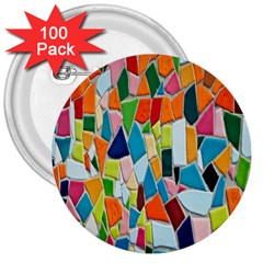 Mosaic Tiles Pattern Texture 3  Buttons (100 Pack)