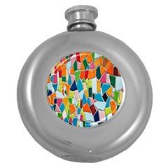 Mosaic Tiles Pattern Texture Round Hip Flask (5 Oz)