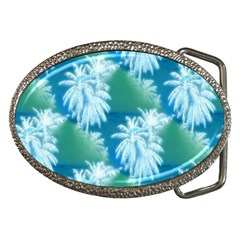 Palm Trees Tropical Beach Coastal Summer Blue Green Belt Buckles by CrypticFragmentsColors