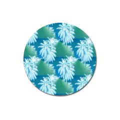 Palm Trees Tropical Beach Coastal Summer Blue Green Magnet 3  (round) by CrypticFragmentsColors