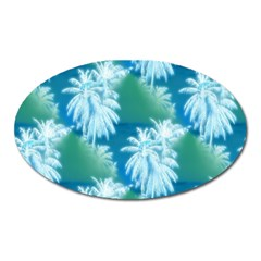 Palm Trees Tropical Beach Coastal Summer Blue Green Oval Magnet