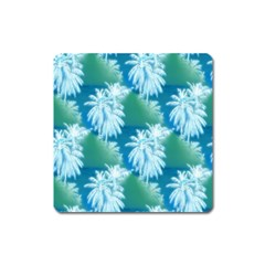 Palm Trees Tropical Beach Coastal Summer Blue Green Square Magnet by CrypticFragmentsColors
