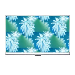 Palm Trees Tropical Beach Coastal Summer Blue Green Business Card Holders by CrypticFragmentsColors