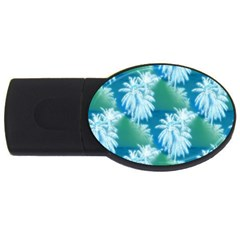 Palm Trees Tropical Beach Coastal Summer Blue Green Usb Flash Drive Oval (2 Gb) by CrypticFragmentsColors