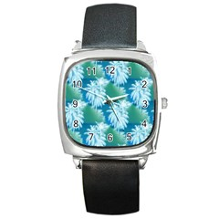 Palm Trees Tropical Beach Coastal Summer Blue Green Square Metal Watch by CrypticFragmentsColors