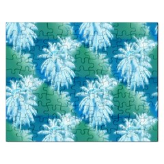 Palm Trees Tropical Beach Coastal Summer Blue Green Rectangular Jigsaw Puzzl by CrypticFragmentsColors