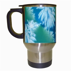 Palm Trees Tropical Beach Coastal Summer Blue Green Travel Mugs (white) by CrypticFragmentsColors