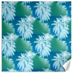 Palm Trees Tropical Beach Coastal Summer Blue Green Canvas 12  X 12   by CrypticFragmentsColors