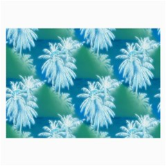 Palm Trees Tropical Beach Coastal Summer Blue Green Large Glasses Cloth by CrypticFragmentsColors