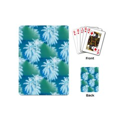 Palm Trees Tropical Beach Coastal Summer Blue Green Playing Cards (mini)  by CrypticFragmentsColors