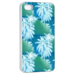 Palm Trees Tropical Beach Coastal Summer Blue Green Apple Iphone 4/4s Seamless Case (white) by CrypticFragmentsColors