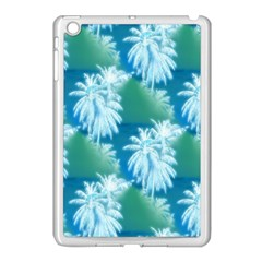 Palm Trees Tropical Beach Coastal Summer Blue Green Apple Ipad Mini Case (white) by CrypticFragmentsColors