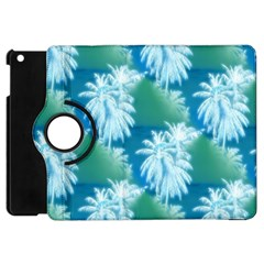 Palm Trees Tropical Beach Coastal Summer Blue Green Apple Ipad Mini Flip 360 Case by CrypticFragmentsColors