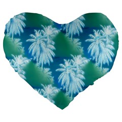 Palm Trees Tropical Beach Coastal Summer Blue Green Large 19  Premium Heart Shape Cushions by CrypticFragmentsColors