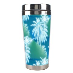 Palm Trees Tropical Beach Coastal Summer Blue Green Stainless Steel Travel Tumblers by CrypticFragmentsColors