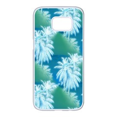Palm Trees Tropical Beach Coastal Summer Blue Green Samsung Galaxy S7 Edge White Seamless Case by CrypticFragmentsColors