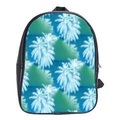 Palm Trees Tropical Beach Coastal Summer Blue Green School Bag (xl) by CrypticFragmentsColors