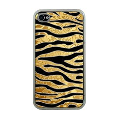 Golden Vector Embossed Golden Black Zebra Stripes Apple Iphone 4 Case (clear) by flipstylezdes