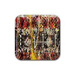 Retro Orange Black And White Liquid Gold  By Kiekie Strickland Rubber Square Coaster (4 Pack)  by flipstylezdes