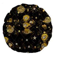 Decorative Icons Original Gold And Diamonds Creative Design By Kiekie Strickland Large 18  Premium Flano Round Cushions