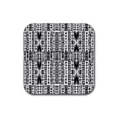 Creative Retro Black And White Abstract Vector Designs By Kiekie Strickland Rubber Square Coaster (4 Pack)  by flipstylezdes