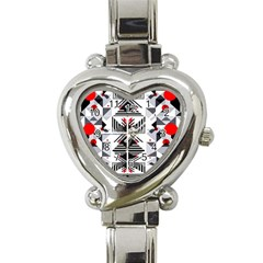 Retro Geometric Red And Black Triangles  Heart Italian Charm Watch